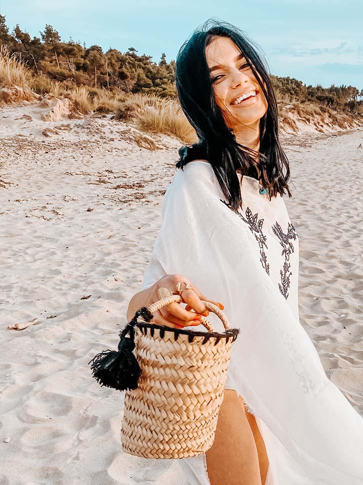 Koralia Ψάθινη Τσάντα με Κέντημα, Μαύρο