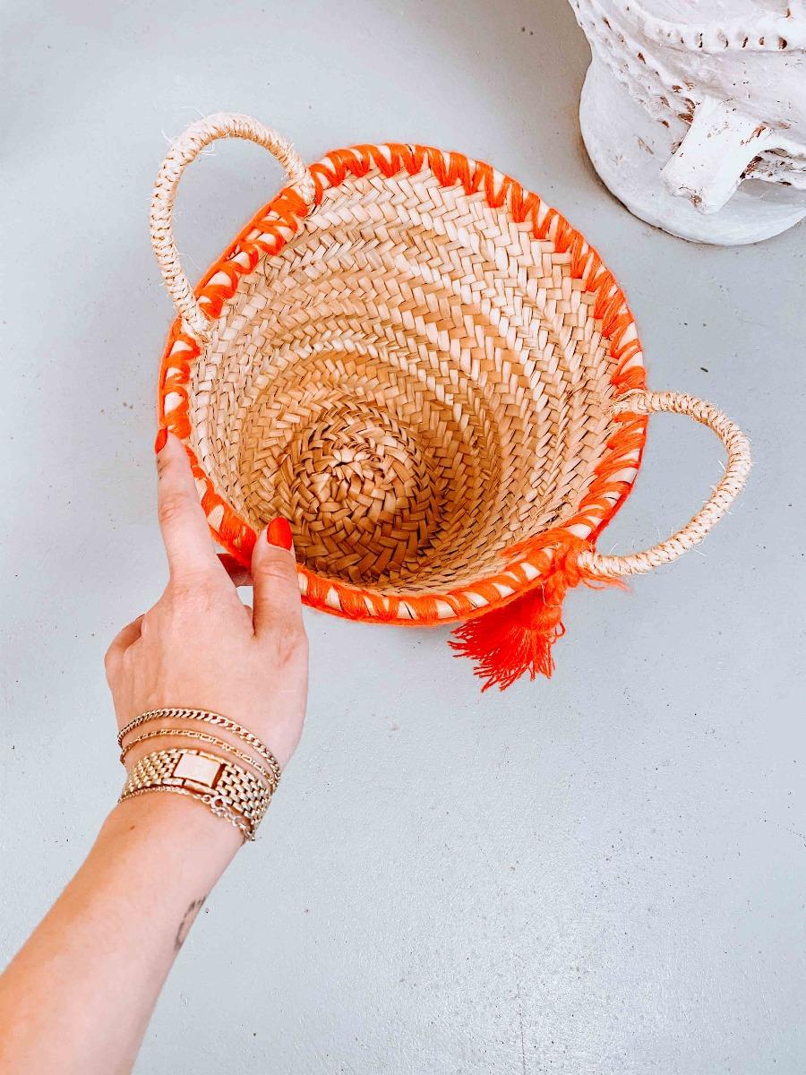 Koralia Ψάθινη Τσάντα με Κέντημα, Πορτοκαλί