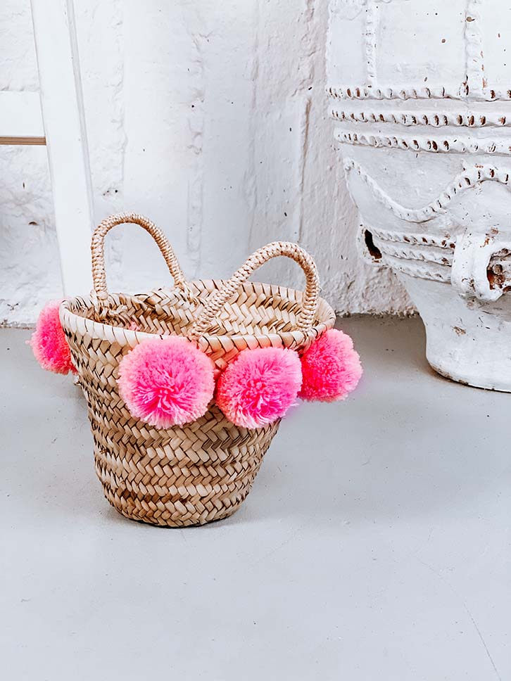 Erato Ψάθινη Τσάντα με Πον Πον, Ροζ