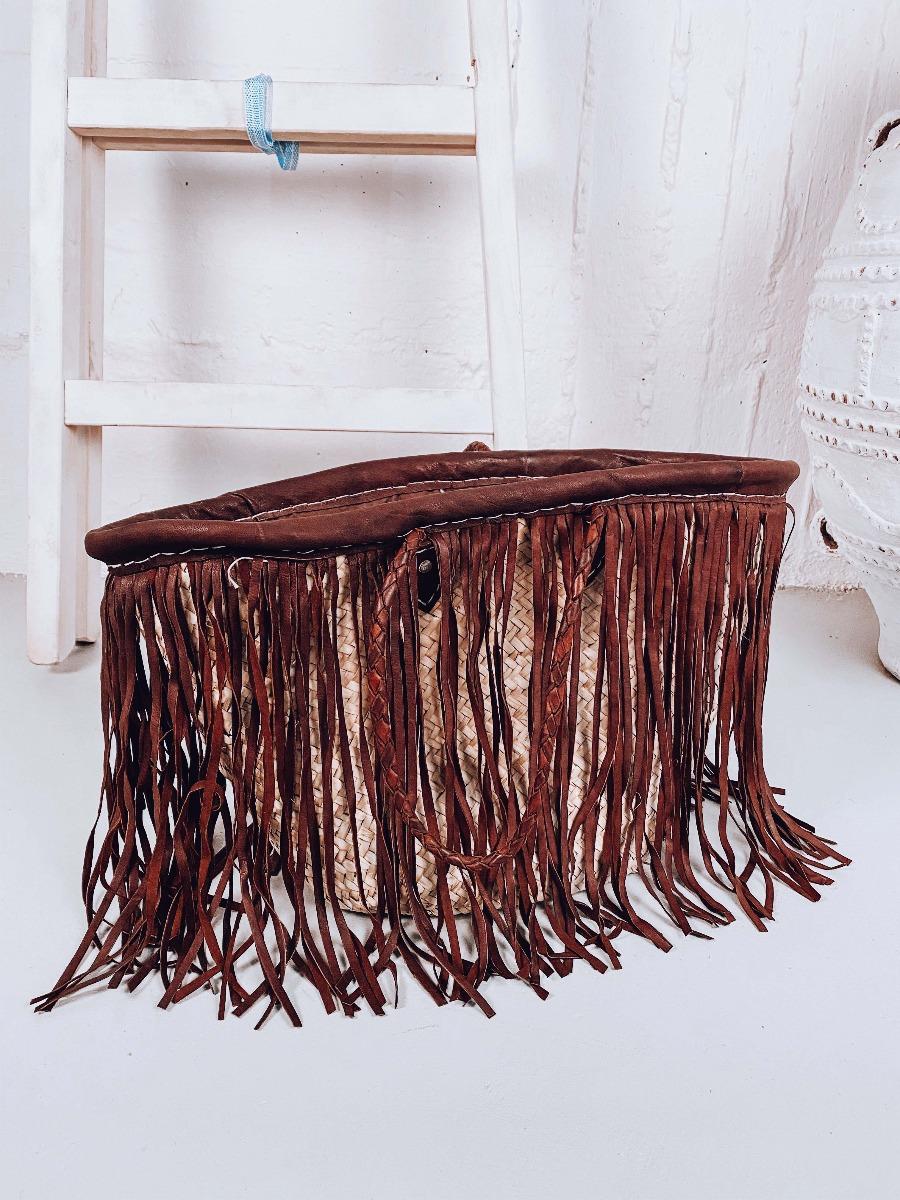 Petra Ψάθινη Χειροποίητη Τσάντα με Κρόσια, Καφέ
