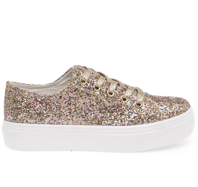 Lily glitter loafer με λευκή σόλα χρυσό