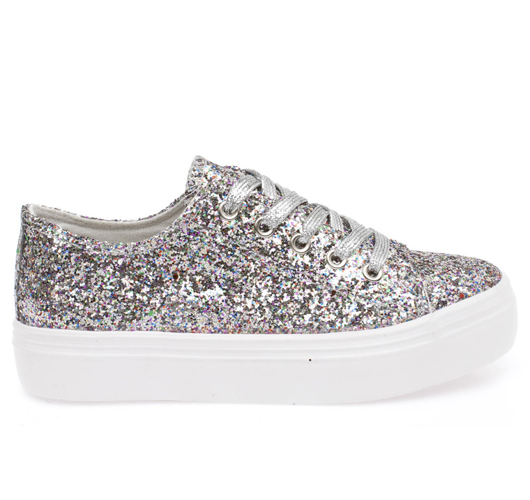 Lily glitter loafer με λευκή σόλα multicolour