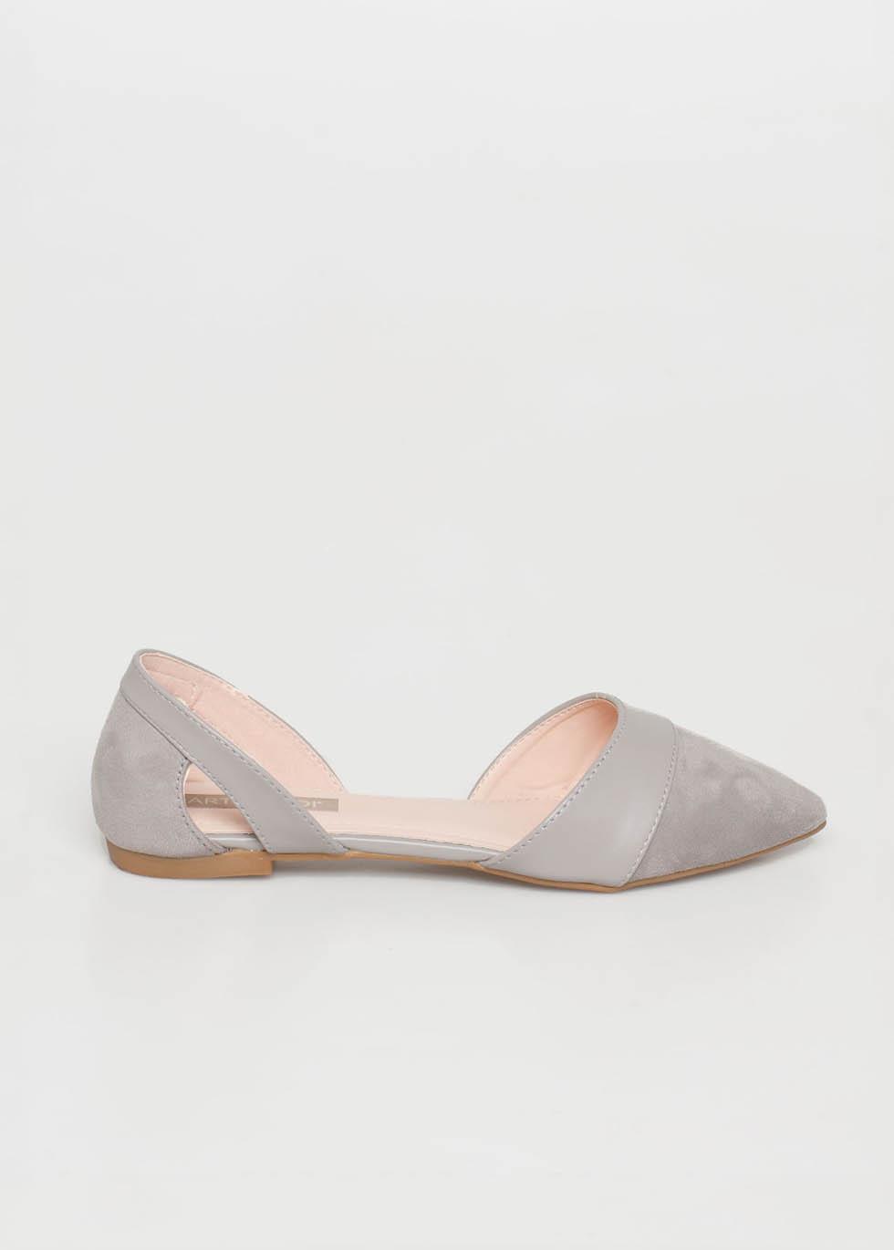 Alice pointed flat shoe, γκρι γόβες