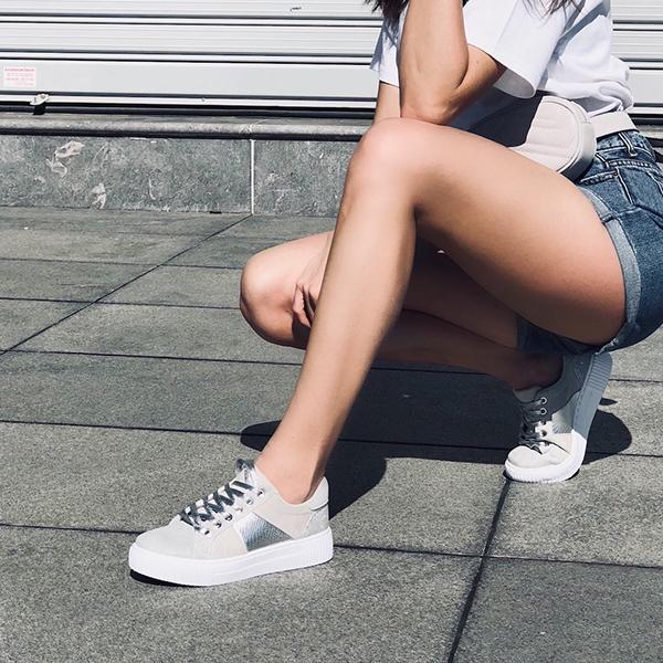Julia suede sneaker, γκρι παπούτσια