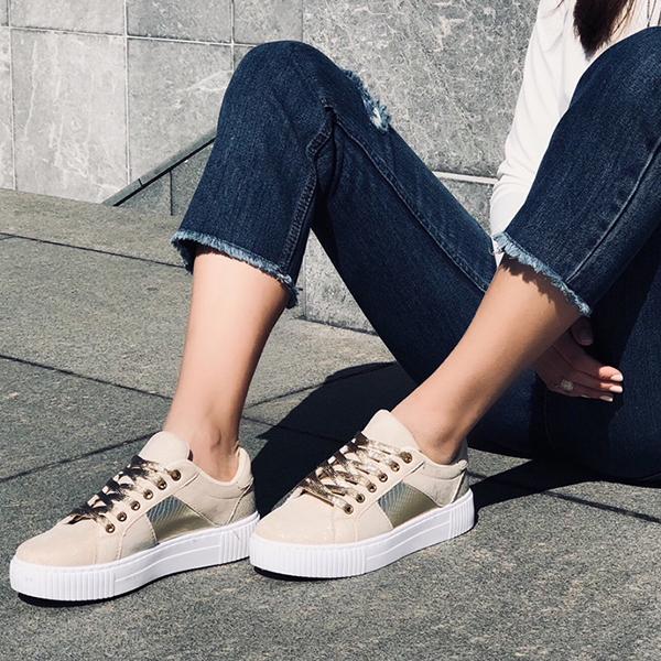 Julia suede sneaker, μπεζ παπούτσια