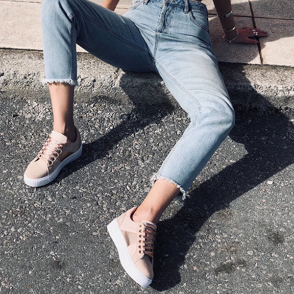 Julia suede sneaker, baby pink παπούτσια