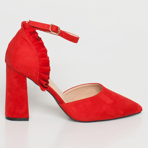 Ginger suede γόβα κόκκινο