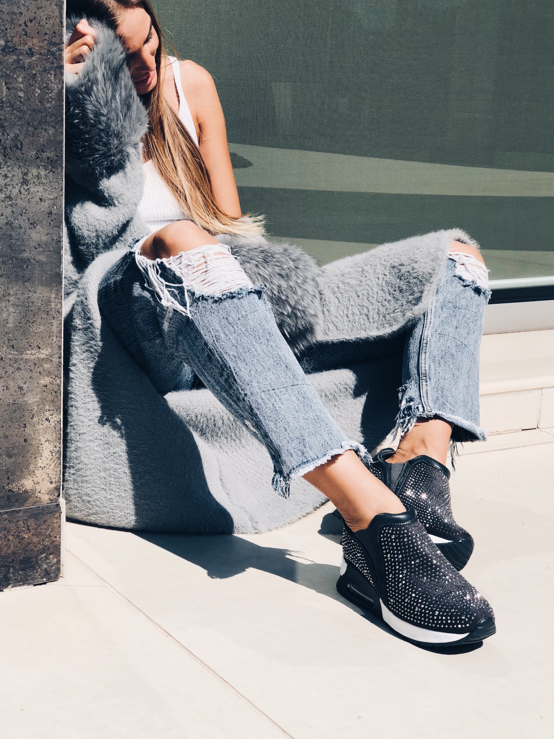 Nell studded sneaker, γκρι
