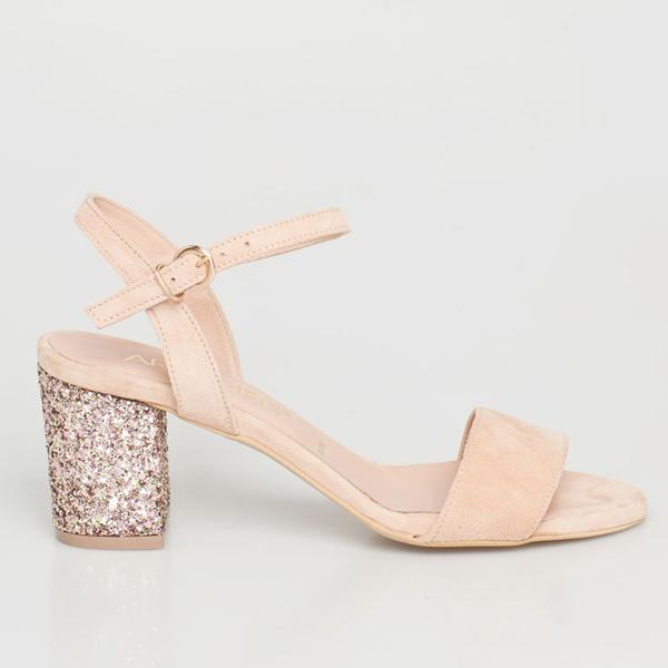 Mira δερμάτινο barely there sandal μπεζ