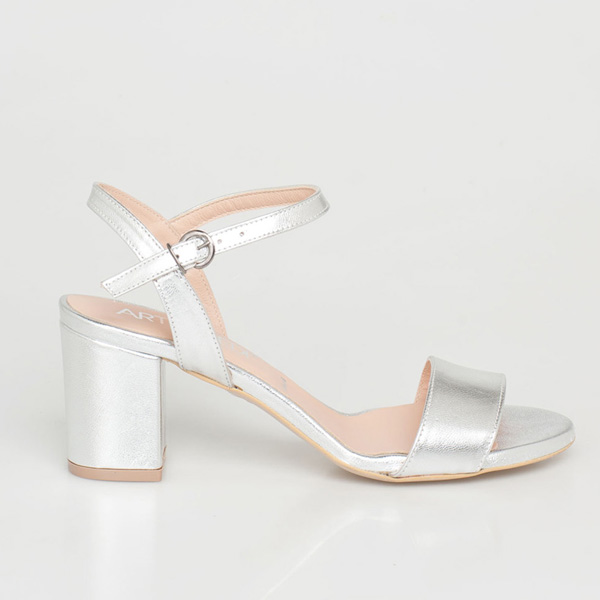 Mira δερμάτινο barely there sandal ασημί