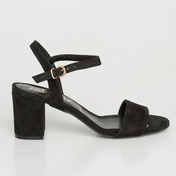 Mira δερμάτινο barely there sandal μαύρο