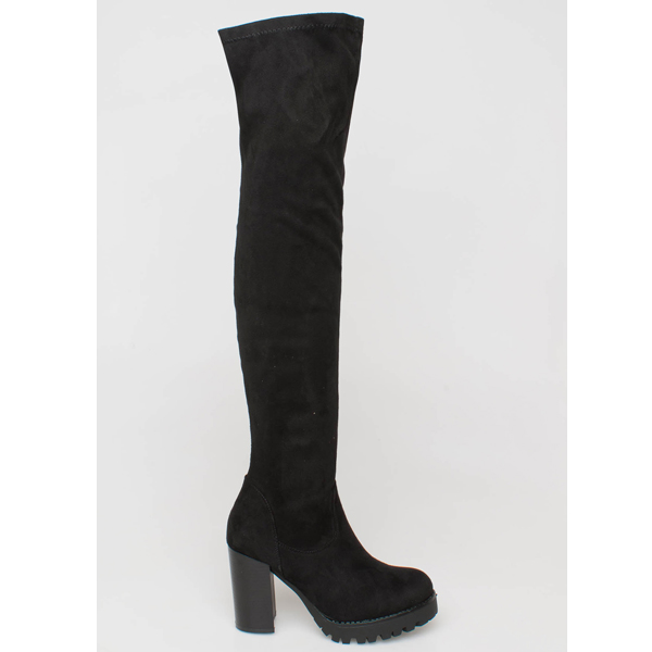 Bell over the knee boot μαύρο