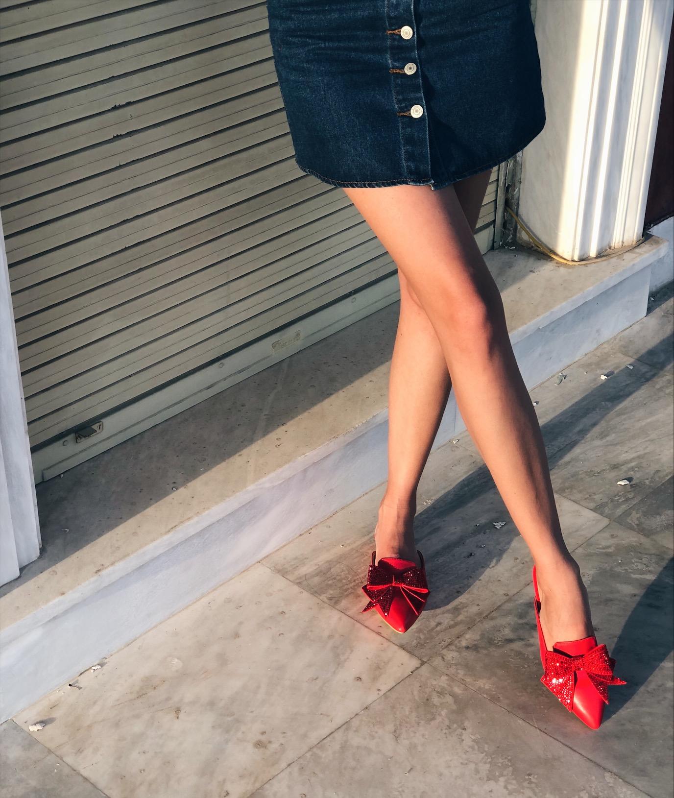 Minnie leather like slider, κόκκινο