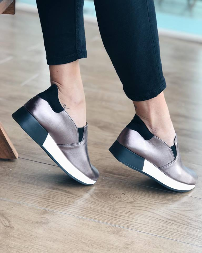Joan suede - leather sneaker, ατσαλί