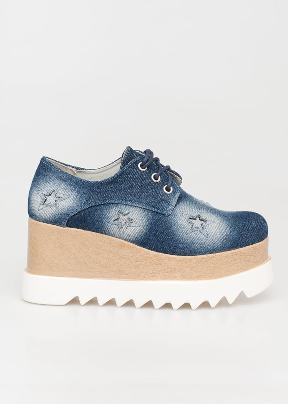 Clara flatform, jean (dark) παπούτσια