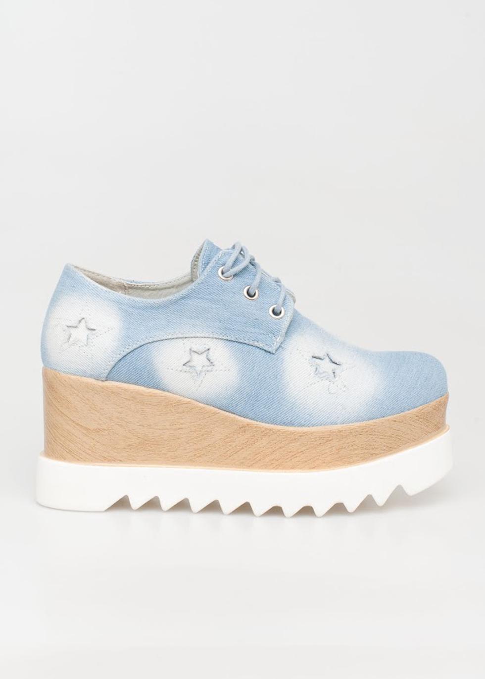 Clara flatform, jean (light) παπούτσια