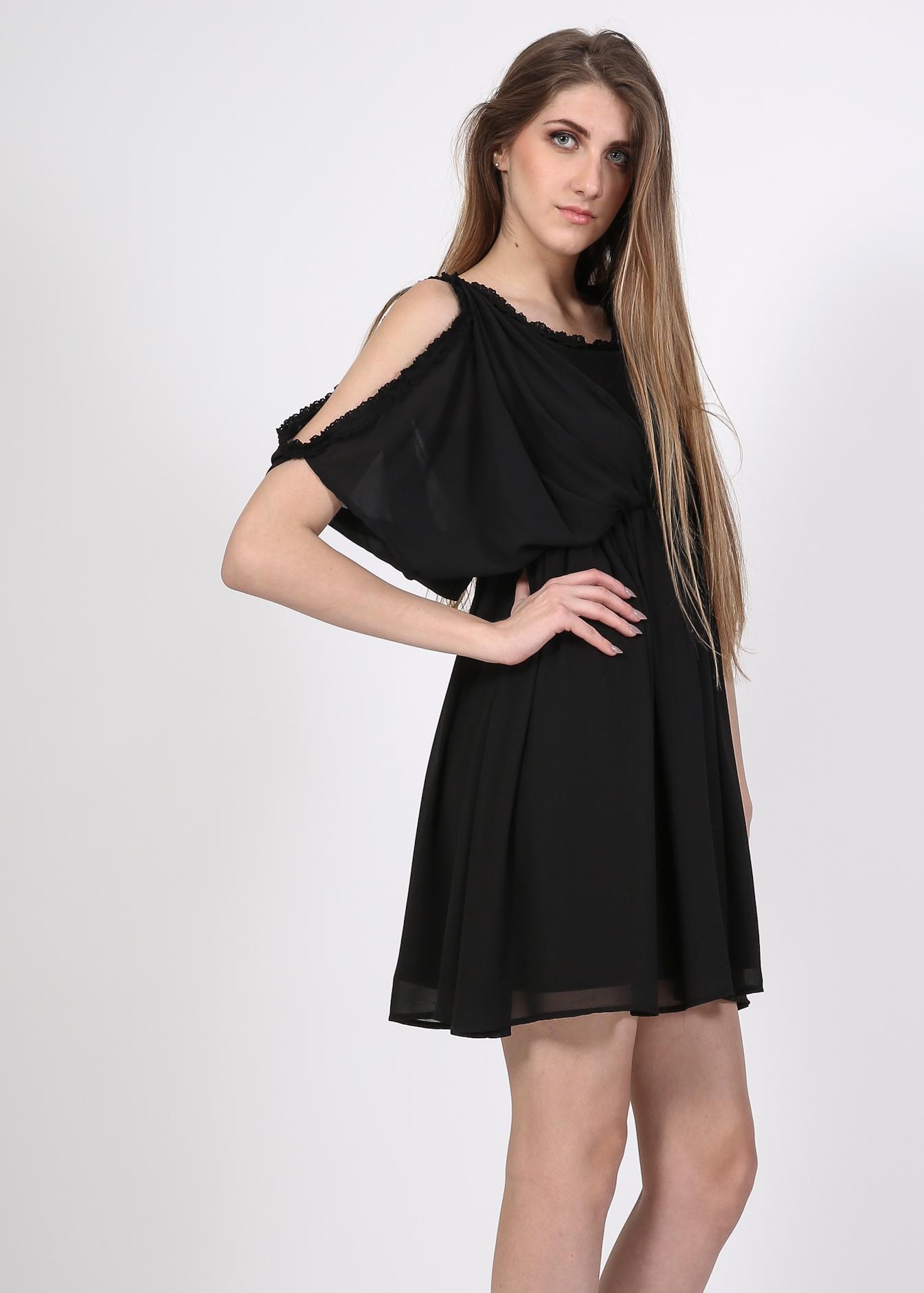 Bianca off shoulder skater φόρεμα, μαύρο ρούχα
