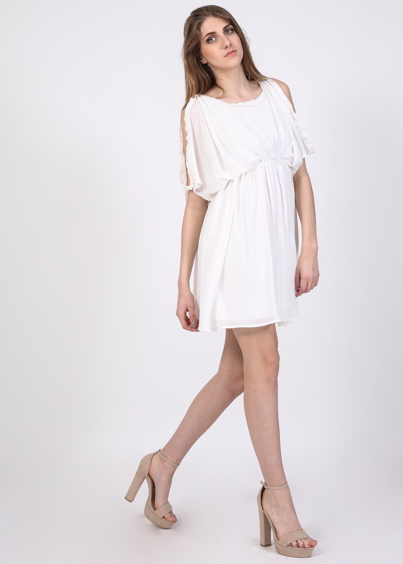 Bianca off shoulder skater φόρεμα, λευκό ρούχα