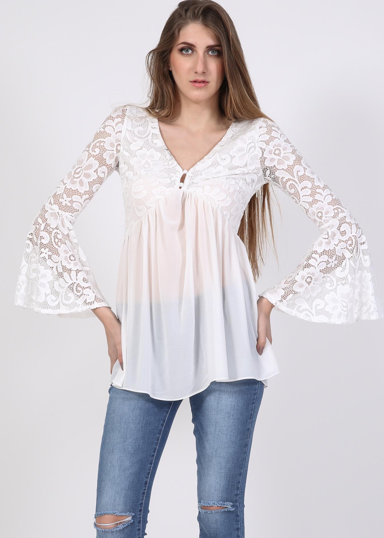 Rossie flared sleeve lace μπλούζα, λευκό ρούχα