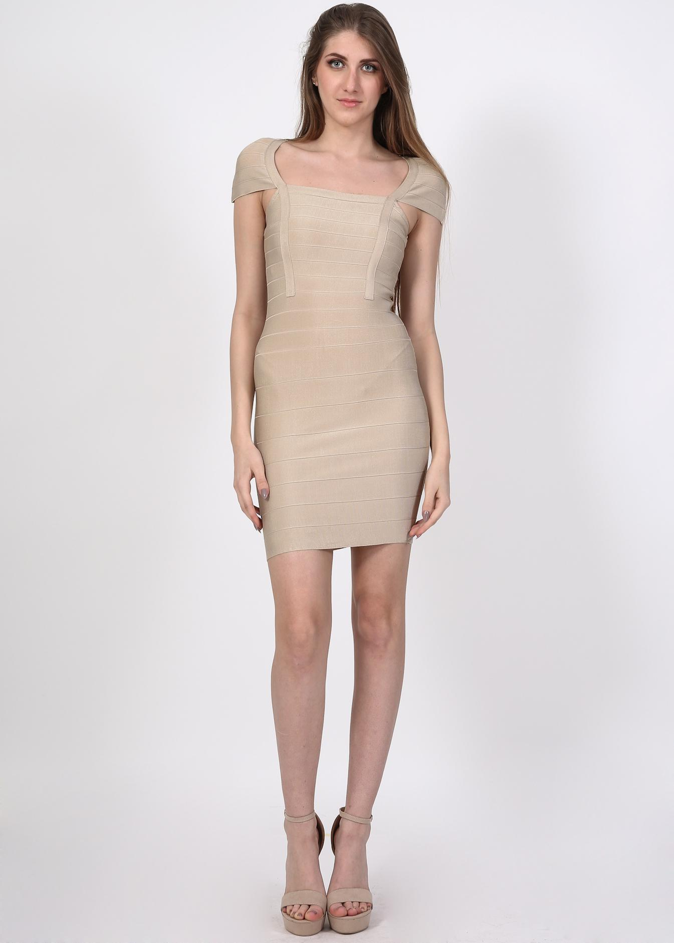 Kim bandage bodycon φόρεμα, μπεζ ρούχα