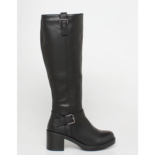 Lines leather like boot μαύρο