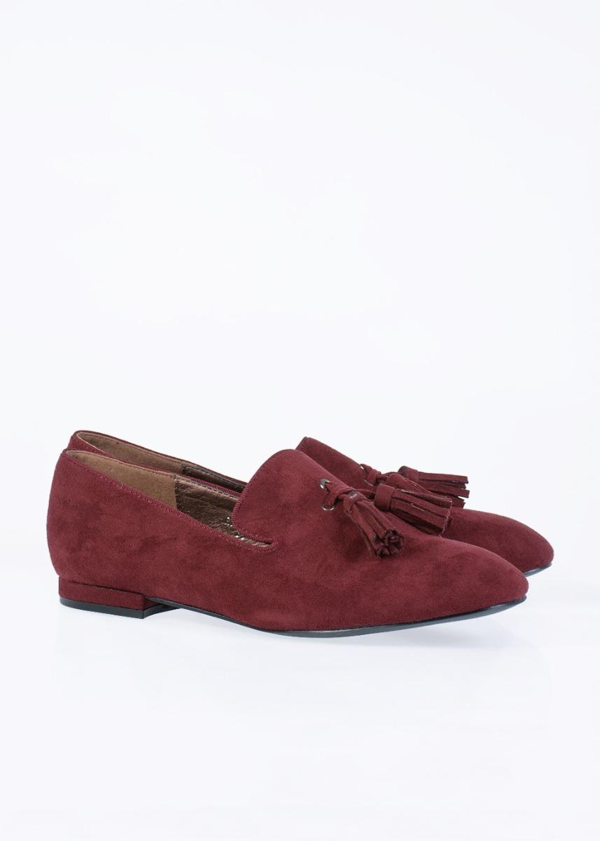 Blanch Suede Flat Shoe, Μπορντό