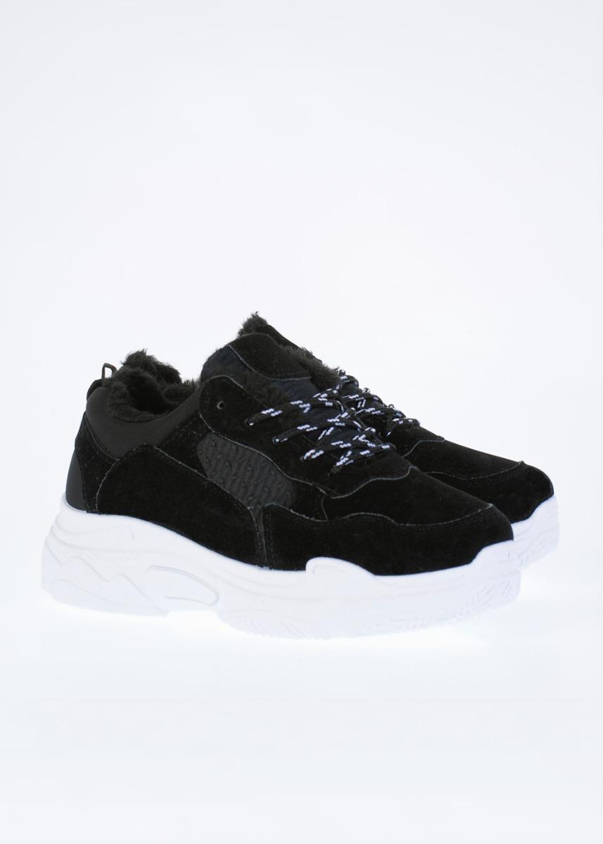 Nina Suede Sneaker, Μαύρο