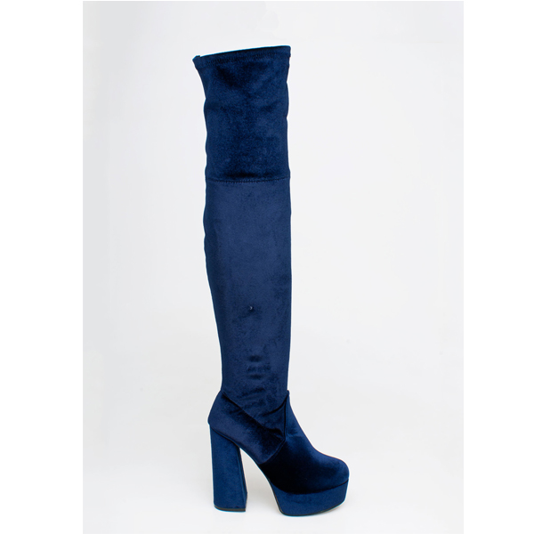 Beth velvet over the knee boot μπλε