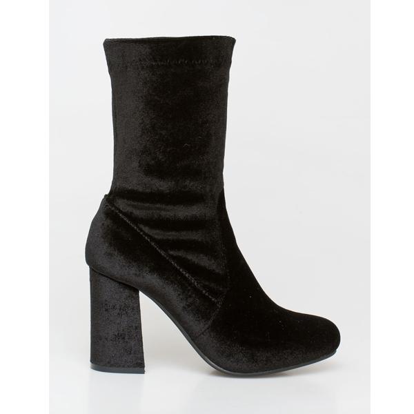 Kylie velvet sock boot μαύρο
