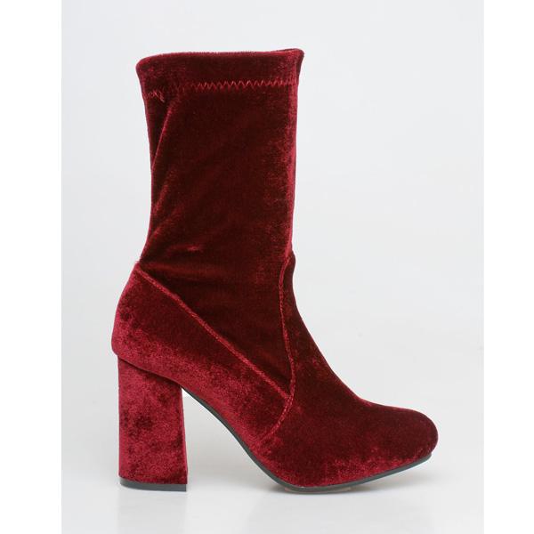 Kylie velvet sock boot μπορντό