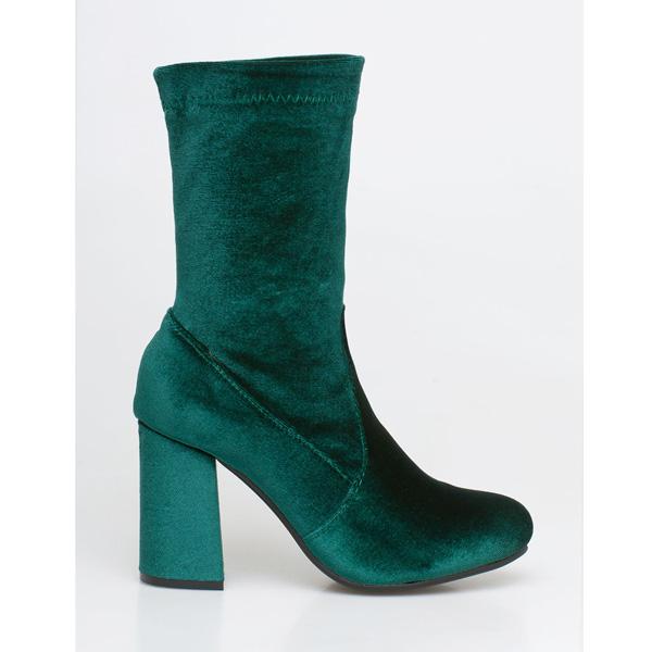 Kylie velvet sock boot πράσινο