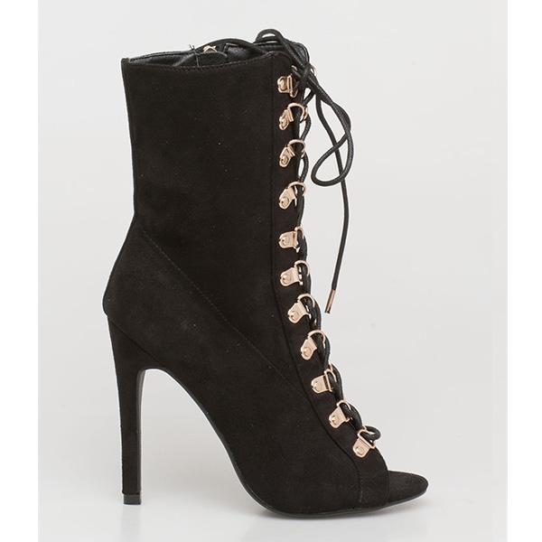 Kalia peep toe boot μαύρο