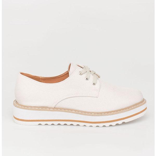 Faye oxford flatform, μπεζ παπούτσια