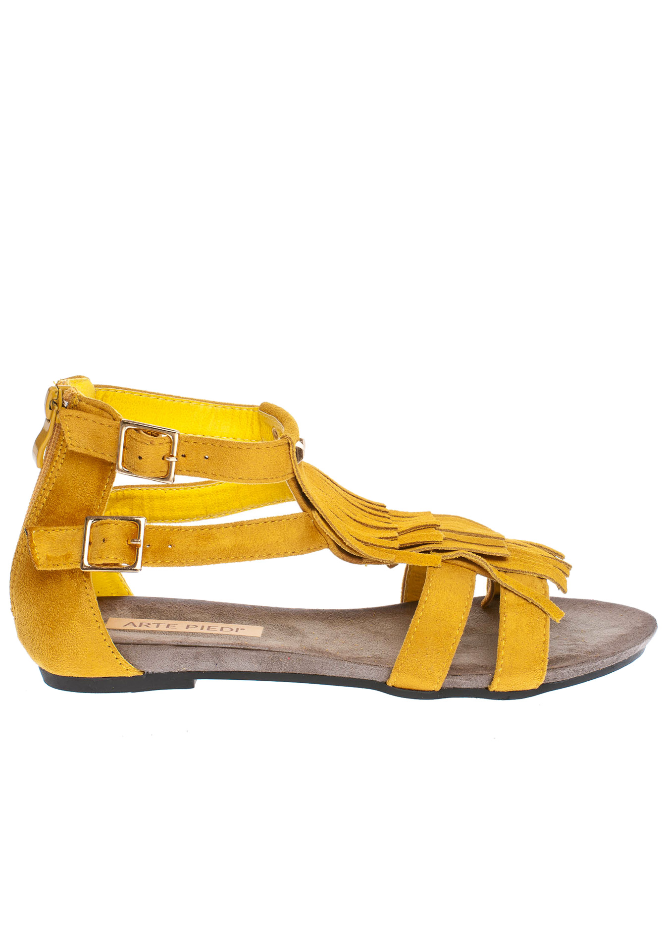 Amelia fringe σανδάλι, κίτρινο παπούτσια