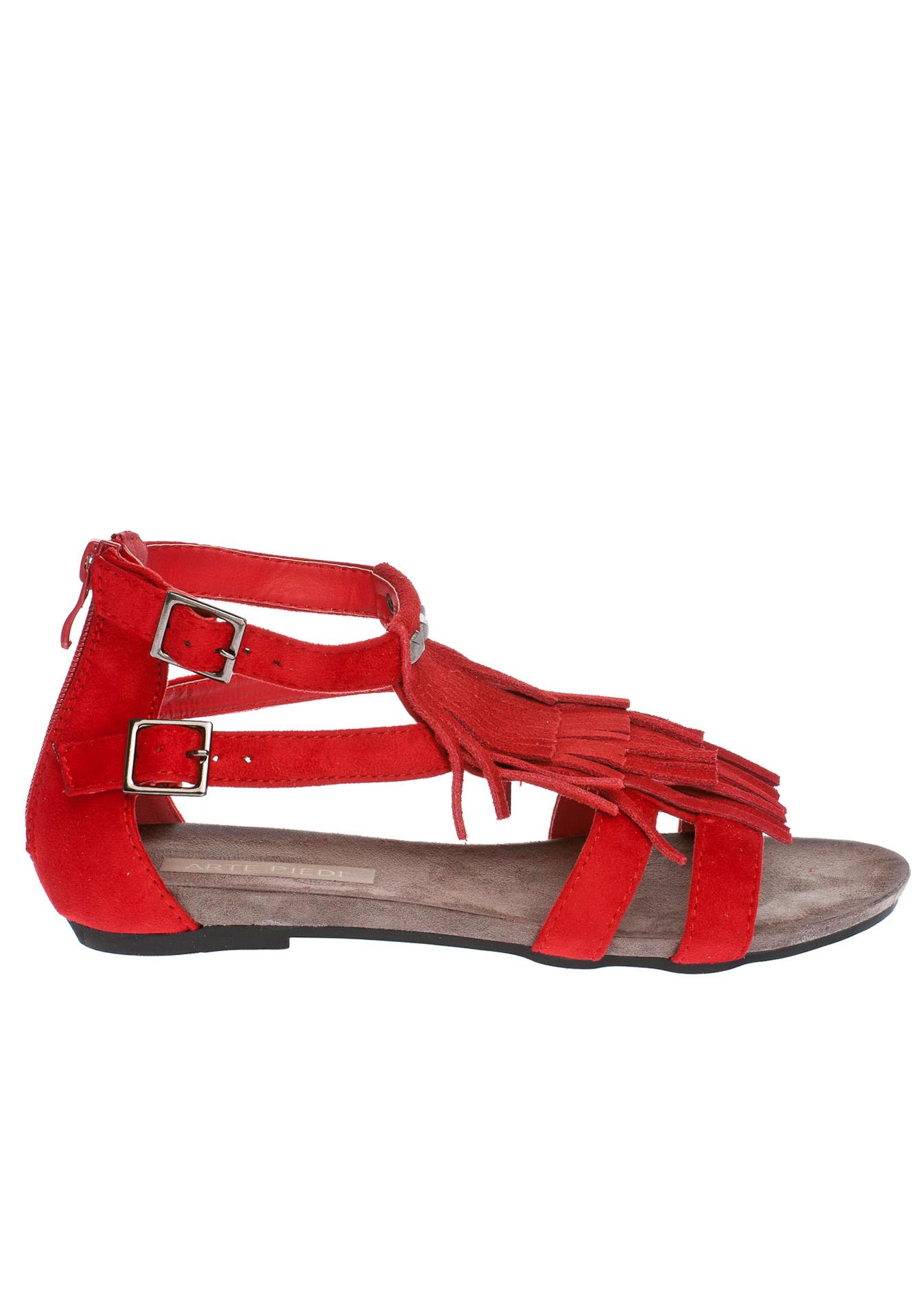 Amelia fringe σανδάλι, κόκκινο παπούτσια