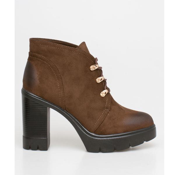 Abby block heel boot καφέ