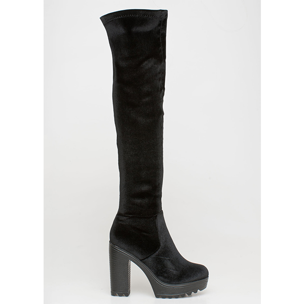 Selah velvet over the knee boot μαύρο