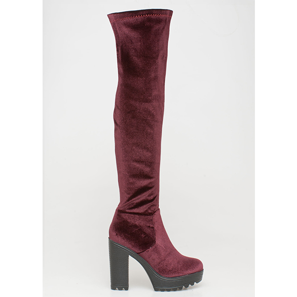 Selah velvet over the knee boot μπορντό