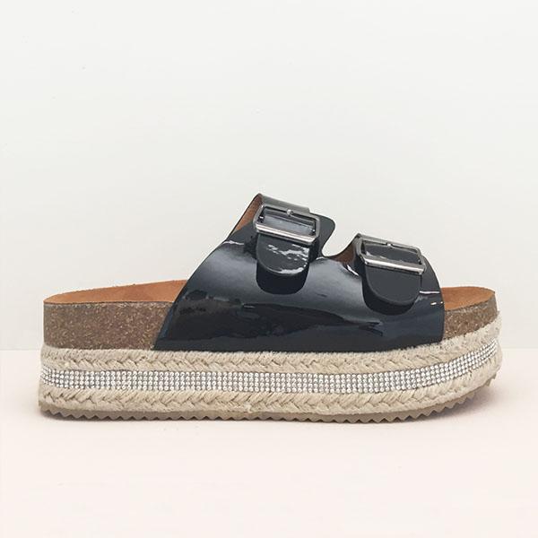 Cleo flatform espadrilles, μαύρο παπούτσια