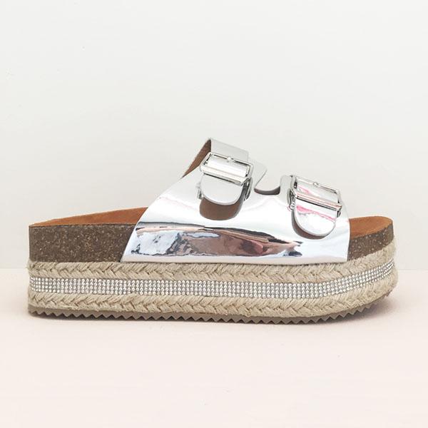 Cleo flatform espadrilles, ασημί παπούτσια