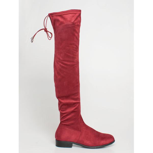 Delilah over the knee boot μπορντό