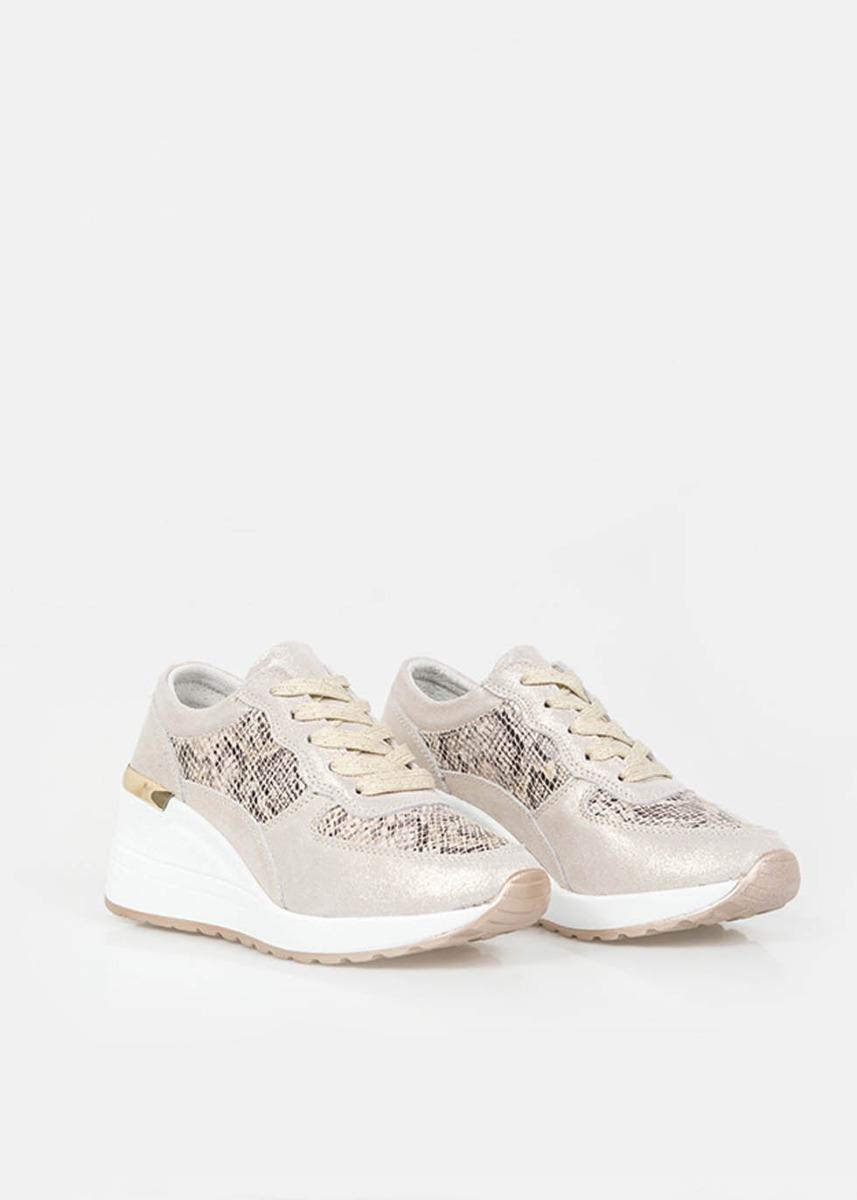 Flavia Δερμάτινα Αθλητικά Παπούτσια Sneaker, Μπεζ - Φίδι