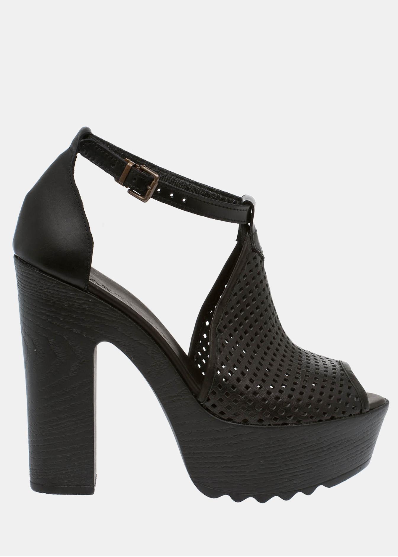 Kendall δερμάτινο πέδιλο, μαύρο παπούτσια