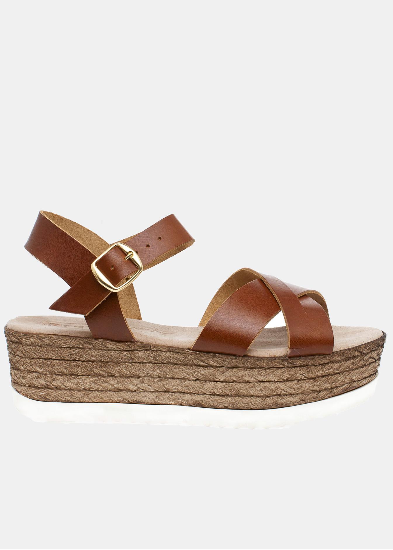 Olivia δερμάτινη flatform, καφέ παπούτσια