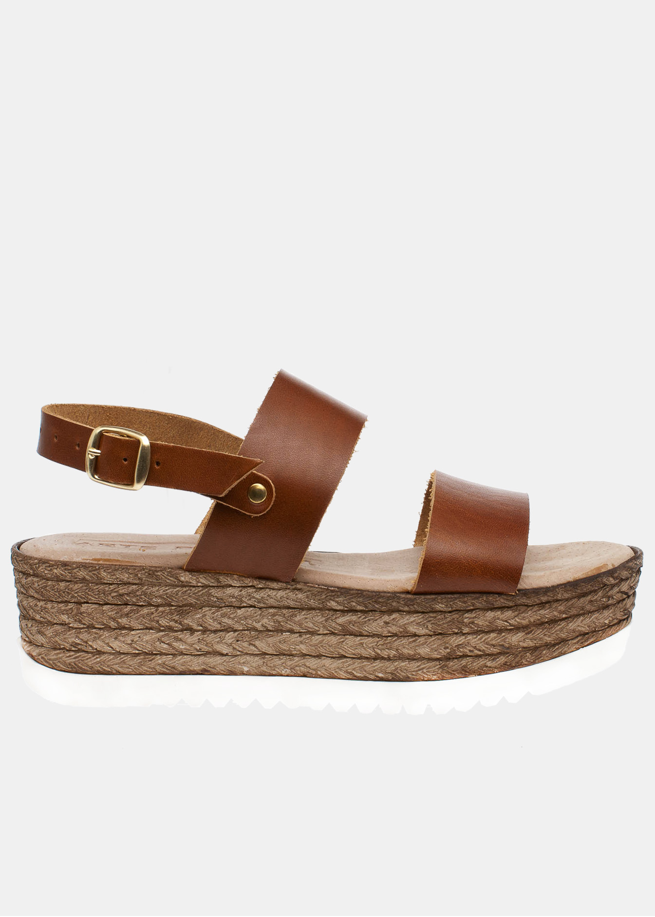 Blair δερμάτινη flatform, καφέ παπούτσια