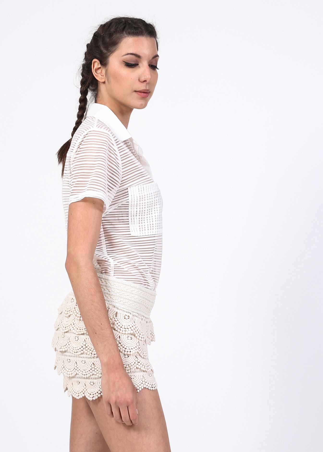 Loulou polo crop πουκάμισο, λευκό ρούχα