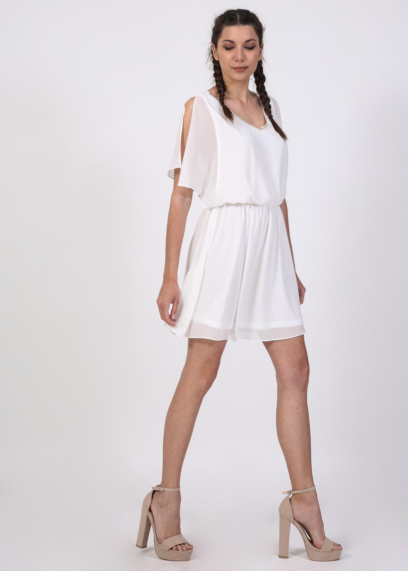 Inez v neck φόρεμα  λευκό