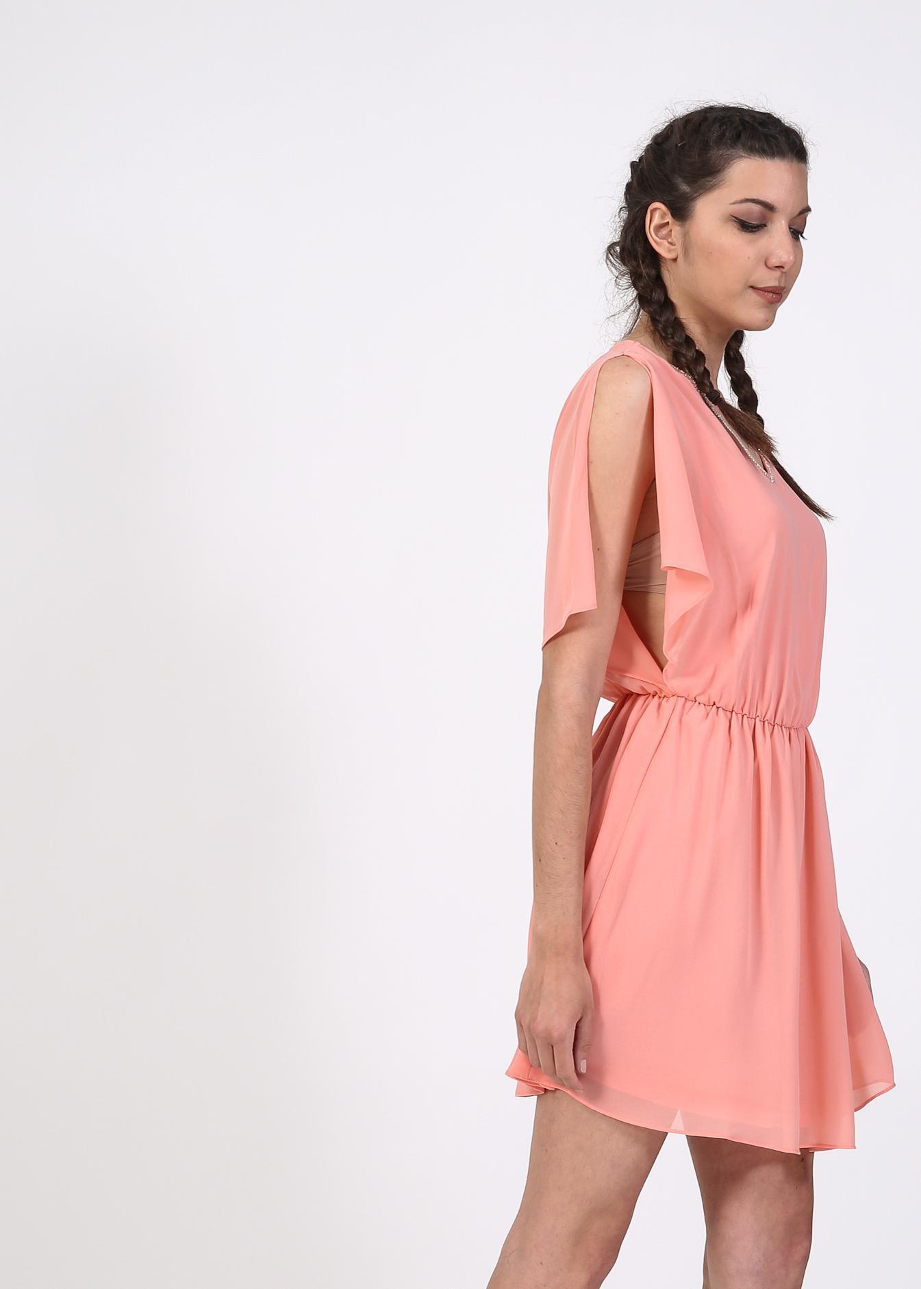 Inez v neck φόρεμα  ροζ