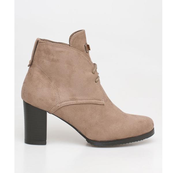 Valery block heel boot μπεζ
