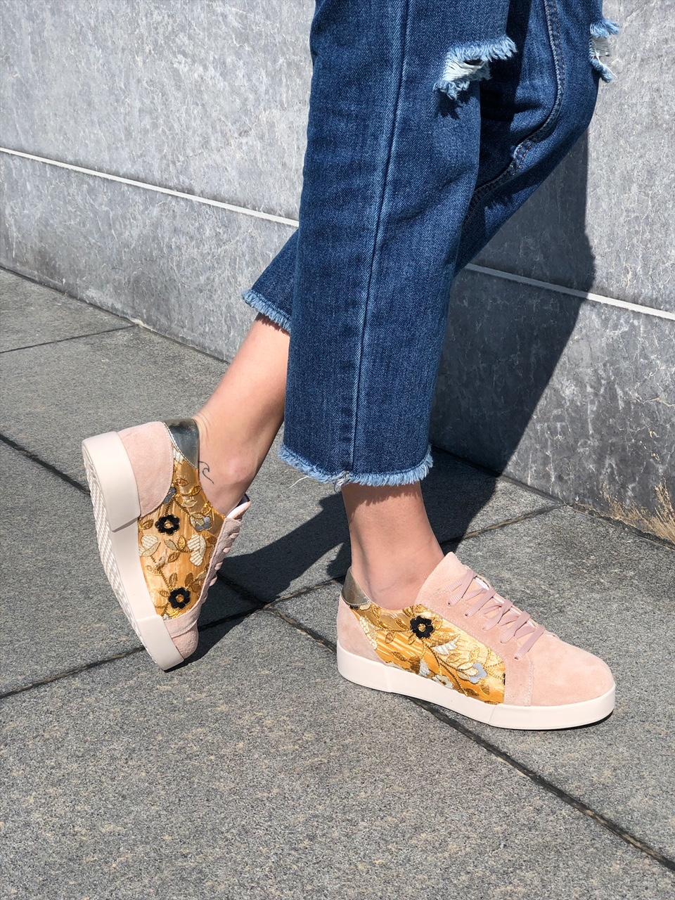 Ariel δερμάτινο sneaker, baby pink